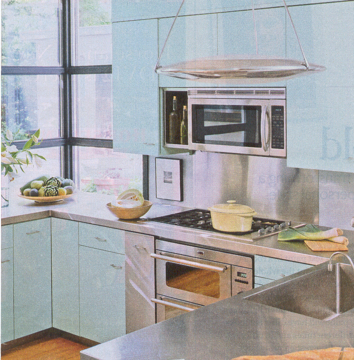 blue kitchen in Better Homes and Gardens