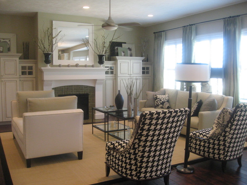 Decorating inspiration black white hooked on houses Model home family room pictures