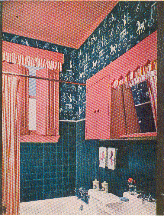teal and pink retro bathroom from the 1950s