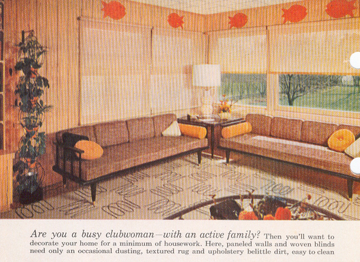 living room in Better Homes and Gardens Decorating Book from 1956