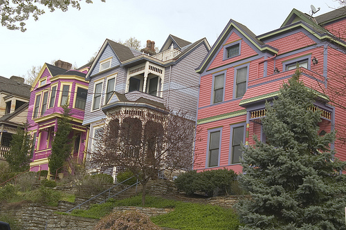 row of colorfully painted houses in Columbia Tusculum neighborhood