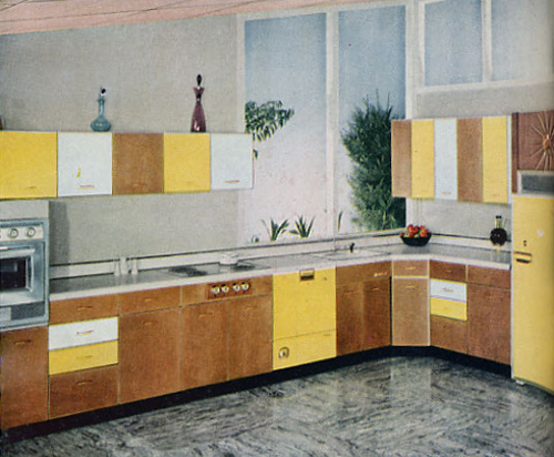 Kitchen and Cabinetry in 1950s photo